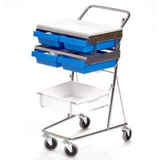Probenwagen, Tablett, Box, Box mit vier Fächern